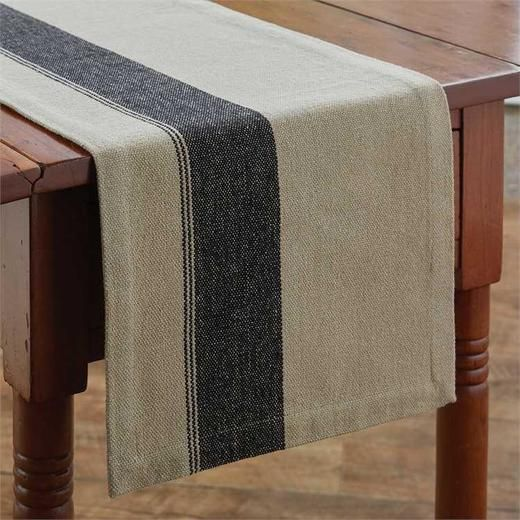 Oatmeal and black table runner with wide black stripe