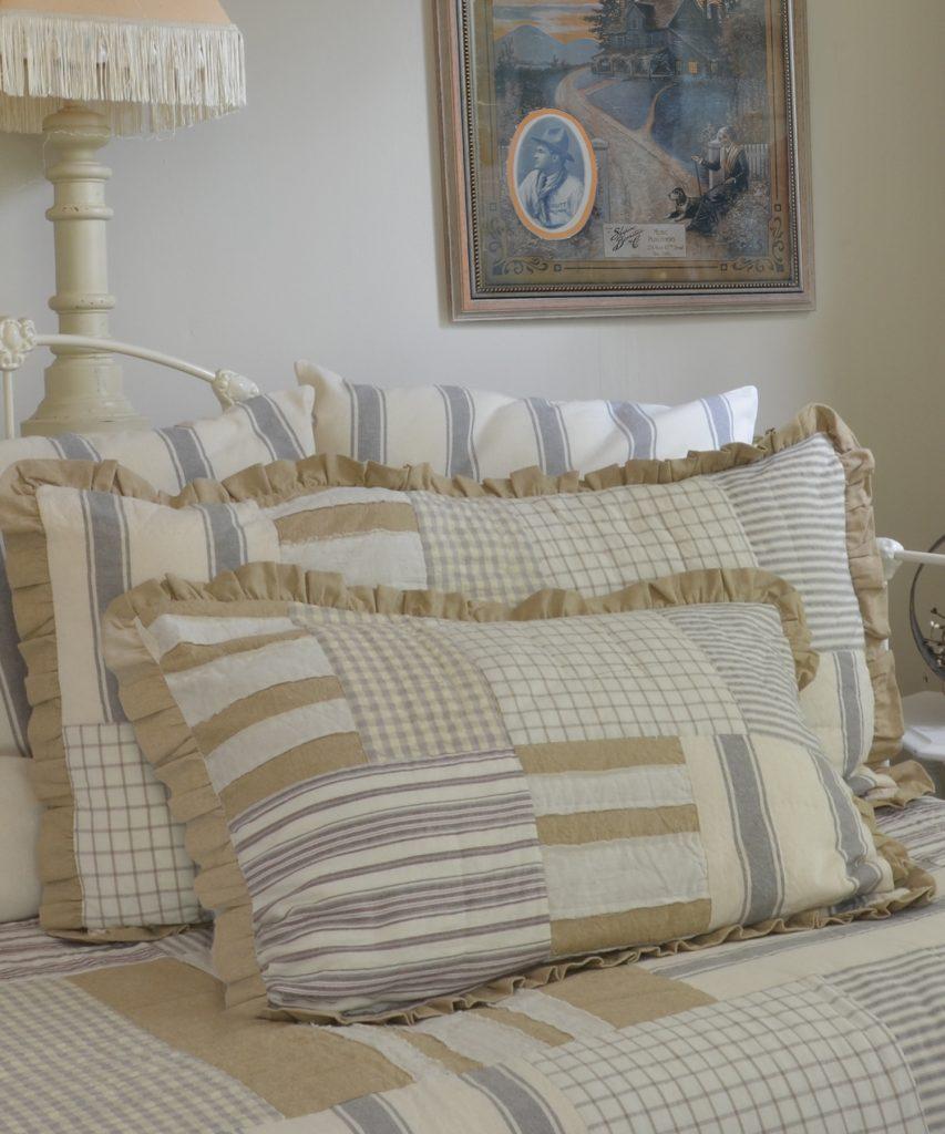 Vintage style mattress ticking fabric pillow shams