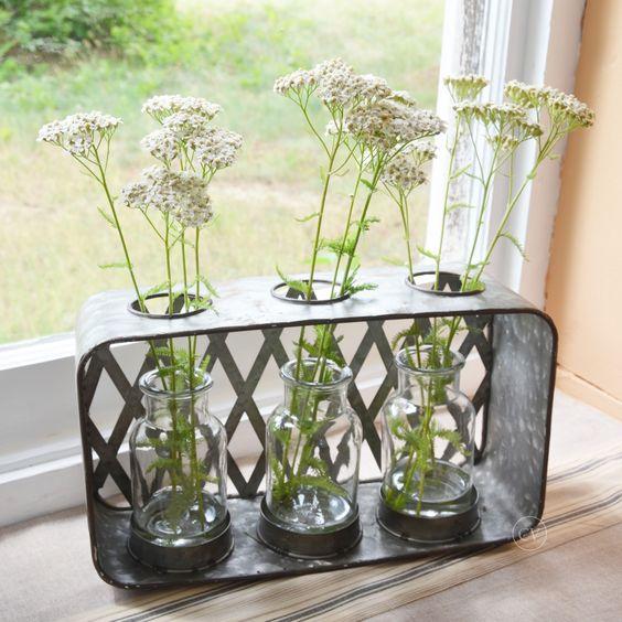 Three small glass vases in a galvanized decorative box