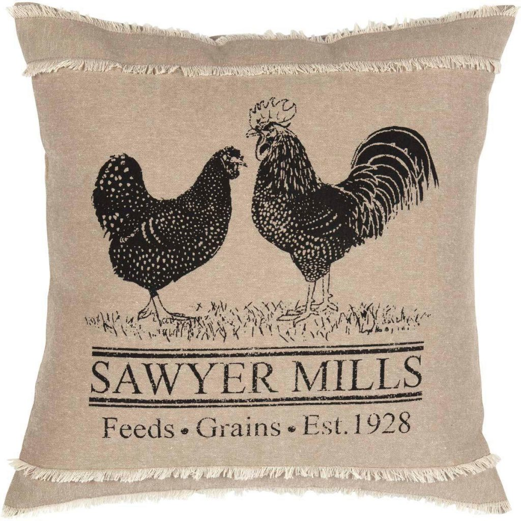 Oatmeal and black pillow with chicken and rooster motif and Sawyer Mill text