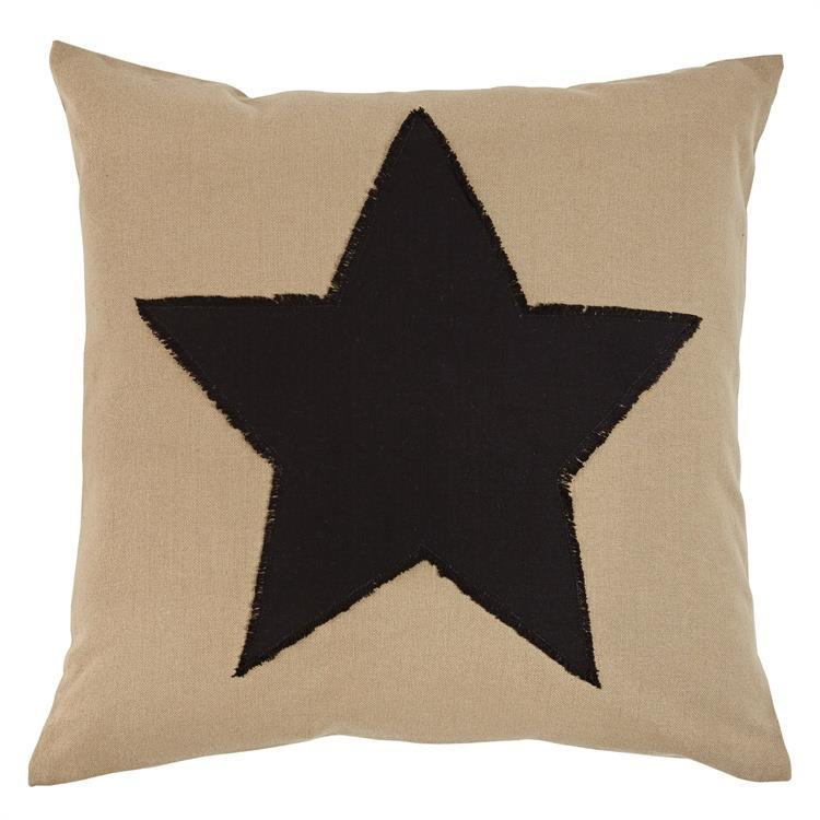 Taupe pillow with black star motif