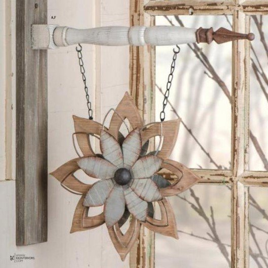 Hanging arrow with flower hanging sign in creams and whites