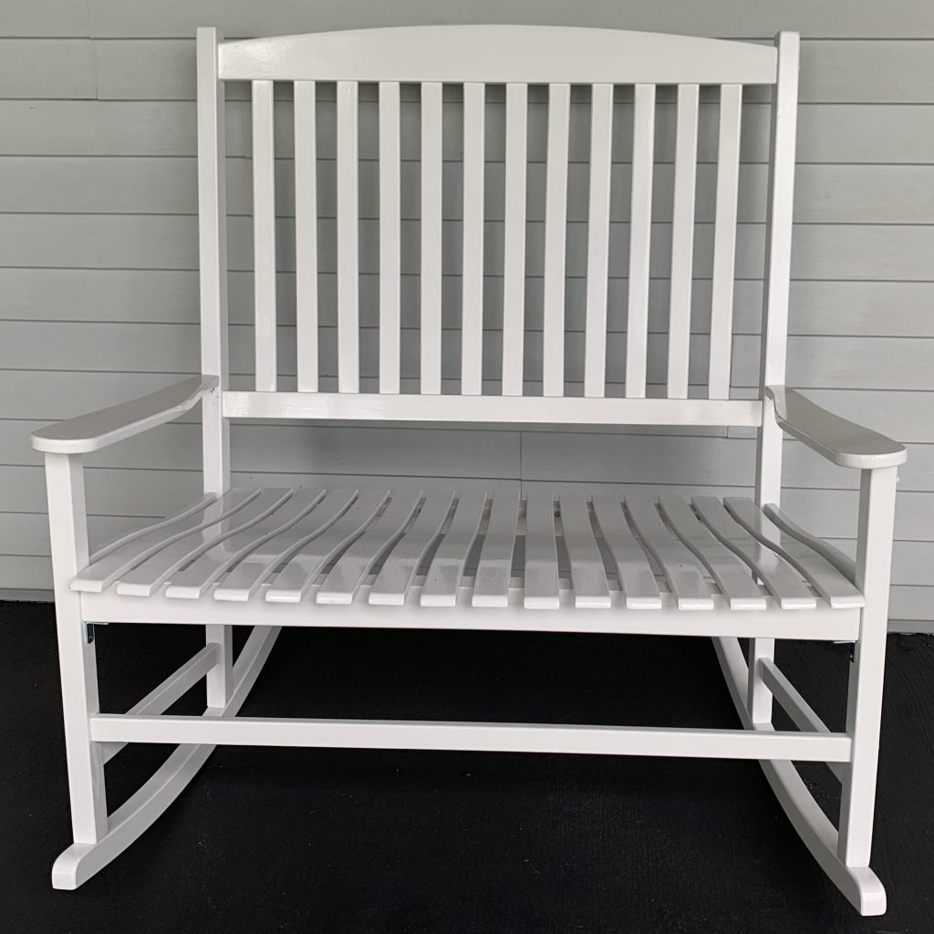 White wooden double rocker porch furniture